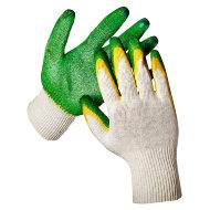 Перчатки ХБ 13 класс с двойным латексным покрытием зелёные (2 облив)